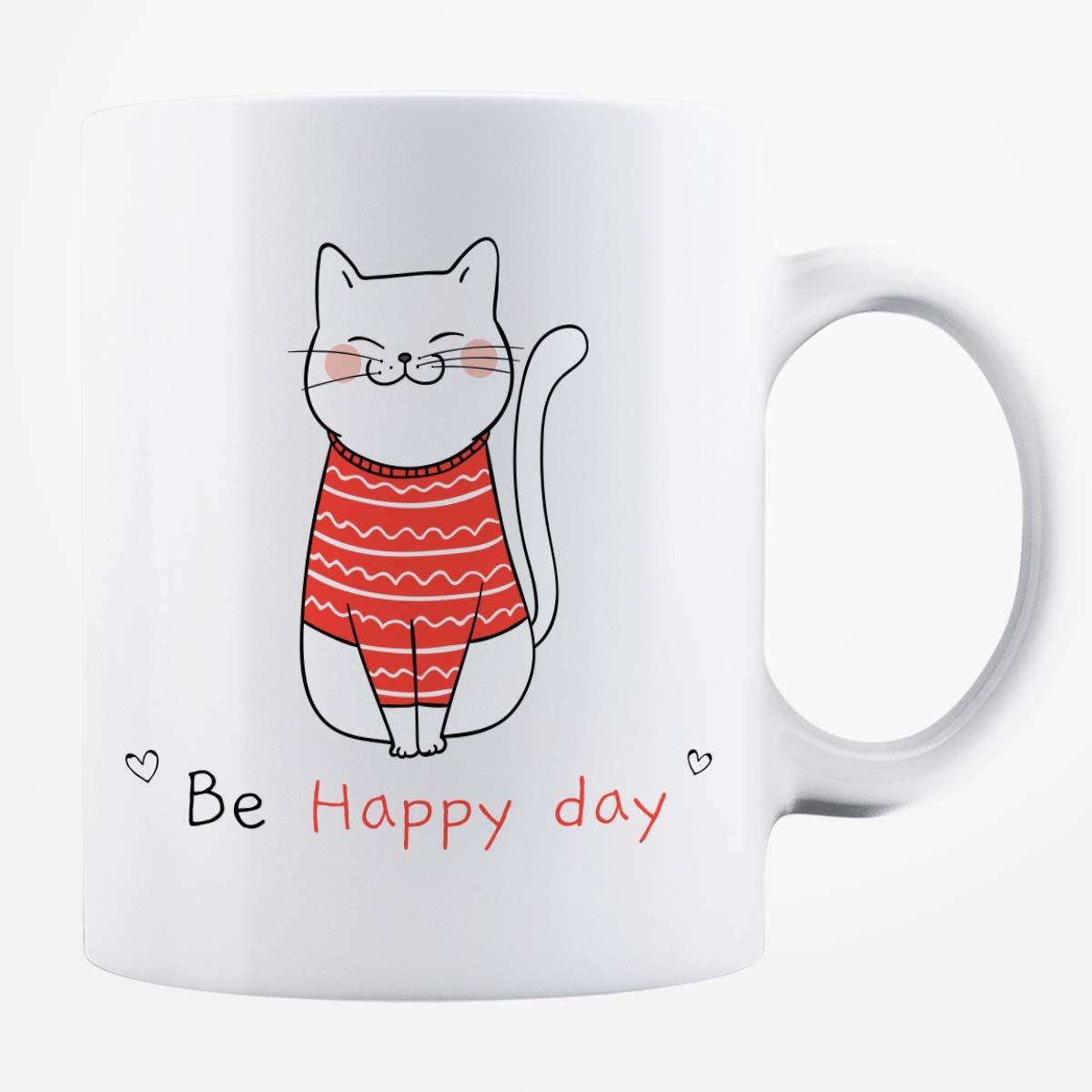 Cană albă personalizată - Be Happy Day
