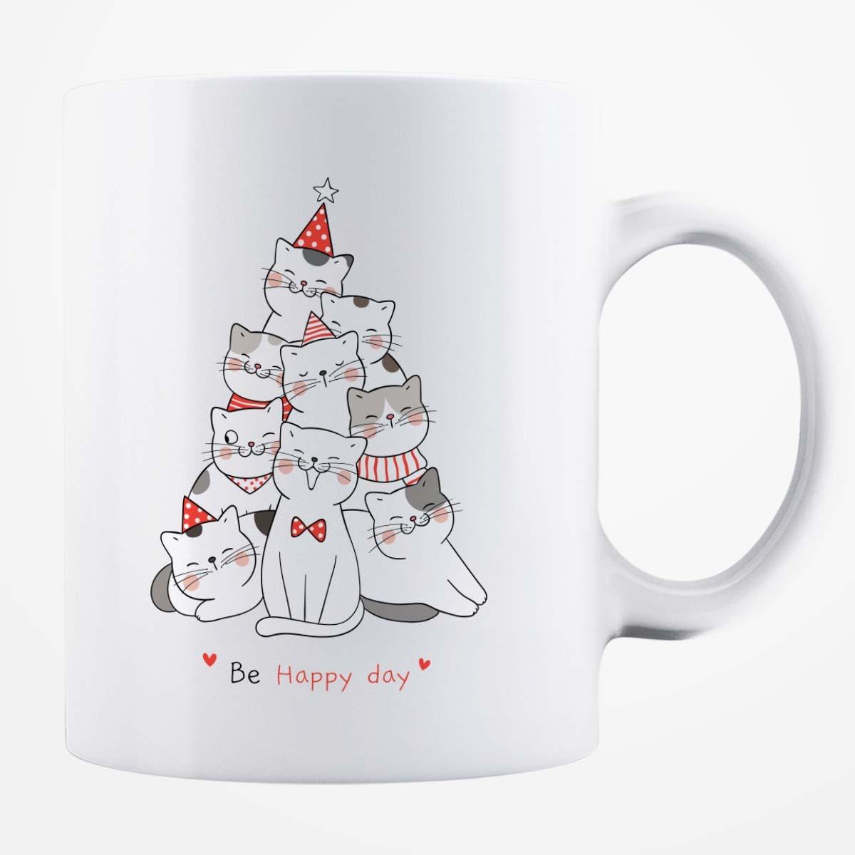 Cană albă personalizată - Be Happy Day 3