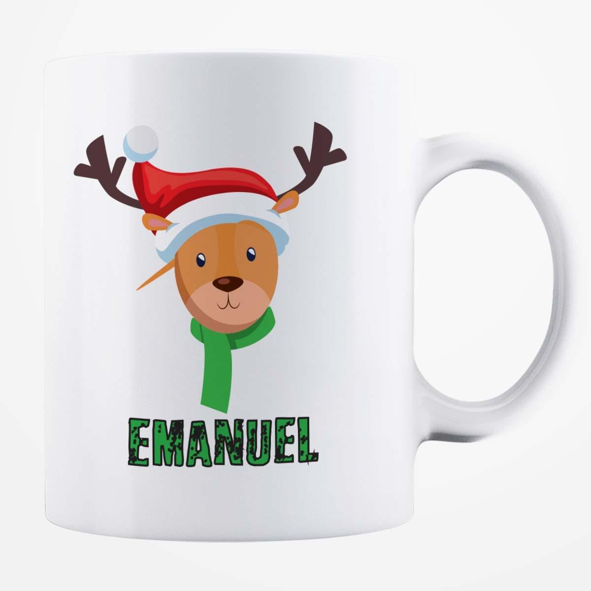 Cană albă personalizată - Ren Crăciun Emanuel