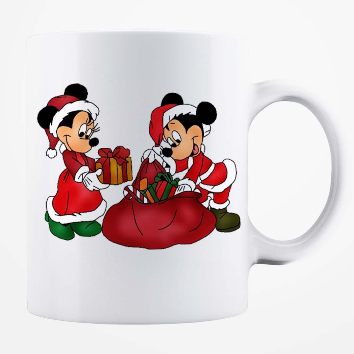 Cană albă personalizată - Minnie și Mickey